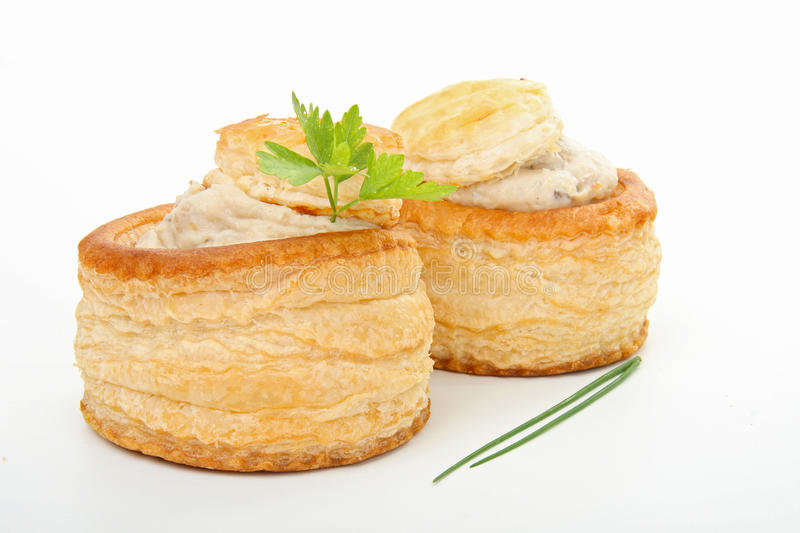 Vol au vent. Two vol au vent on white background royalty free stock image
