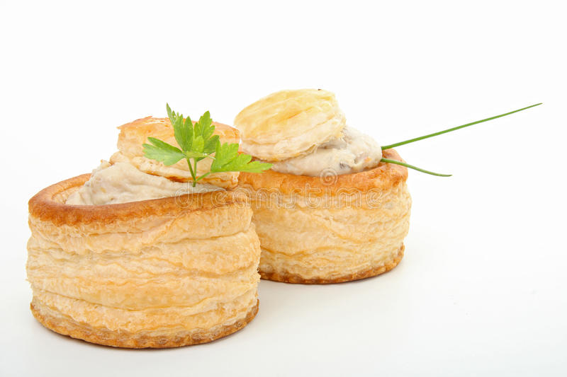 Vol au vent. Two fresh and hot vol au vent royalty free stock photography