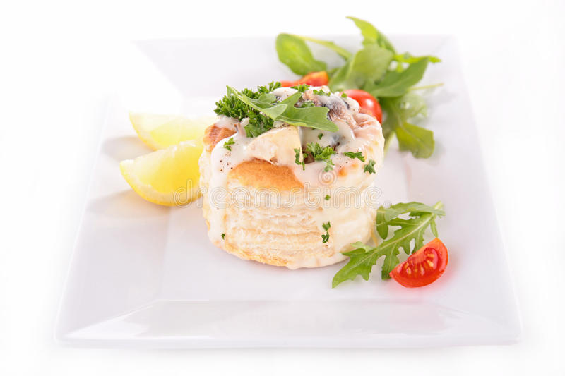 Vol au vent with chicken and mushroom stock images