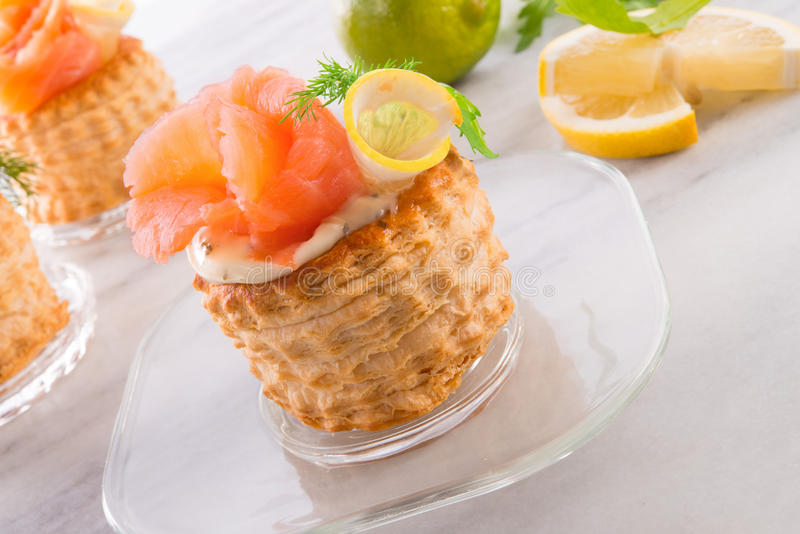 Vol-au-vent with salmon royalty free stock photography