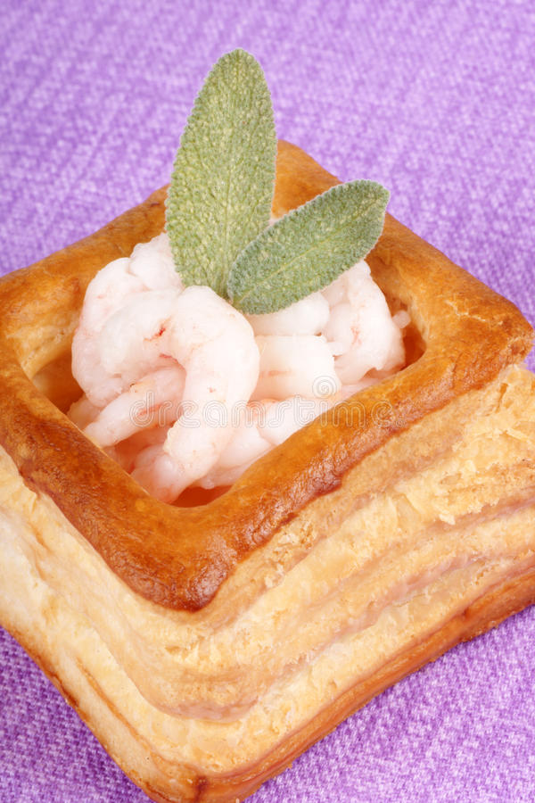 Vol-au-vent with small shrimps royalty free stock photos