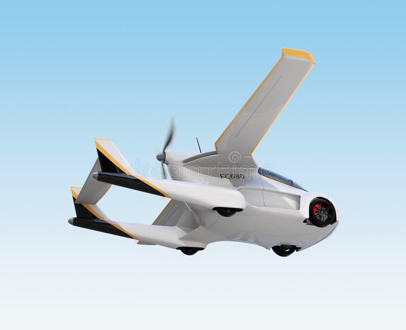 Vol autonome futuriste de voiture dans le ciel illustration libre de droits