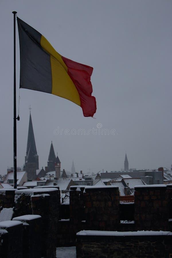 Vol belge de drapeau en vent sur le vieux toit de château avec la belle vue à la ville d'hiver Bâtiments et toits historiques de  images stock