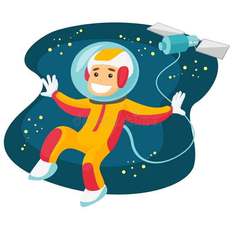Vol blanc caucasien d'astronaute dans l'espace ouvert illustration de vecteur
