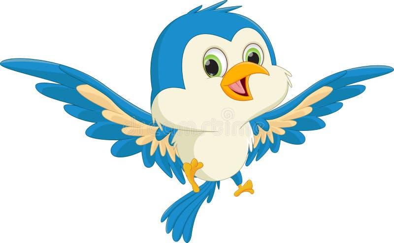 Vol bleu heureux de bande dessinée d'oiseau illustration libre de droits