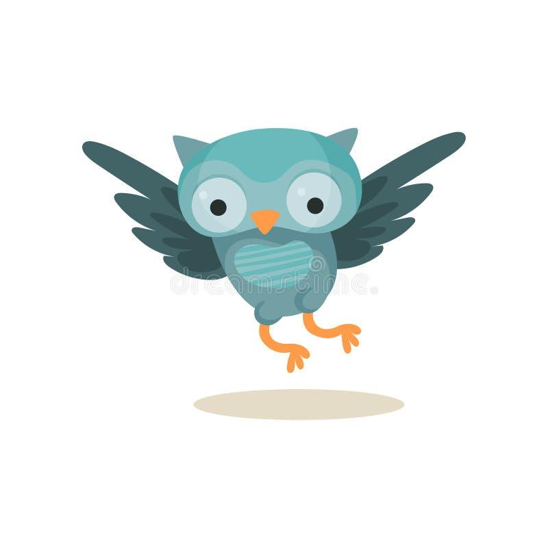 Vol bleu mignon de jeune hibou, illustration douce de vecteur de personnage de dessin animé d'oiseau de hibou sur un fond blanc illustration stock