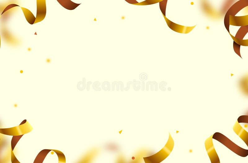 Vol brillant de confettis d'or sur le fond blanc de vacances Confettis en baisse de partie illustration de vecteur