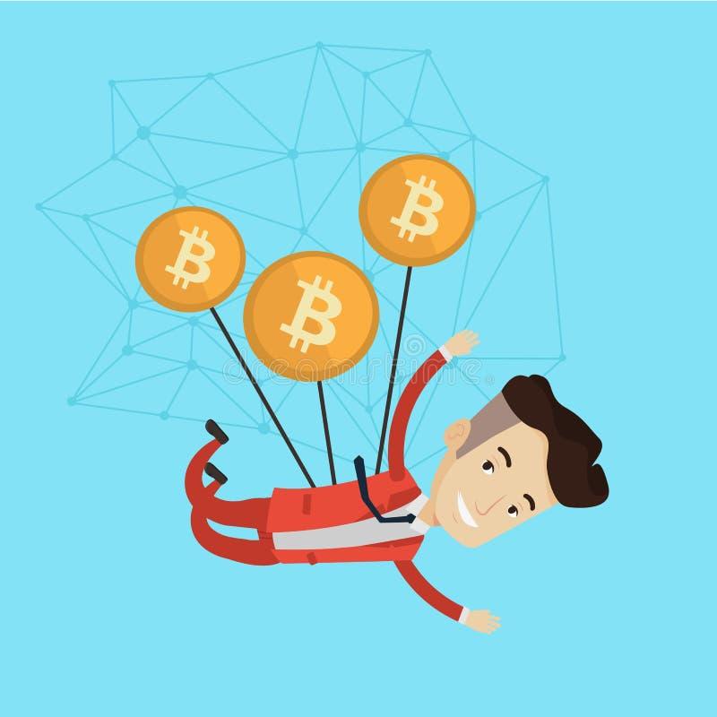 Vol caucasien d'homme d'affaires avec des pièces de monnaie de bitcoin illustration libre de droits