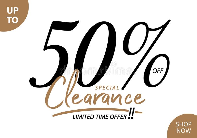 Vol. 5.3 Clearance Sale 50 percent heading design for banner or. Poster. Sale and Discounts Concept vector illustration