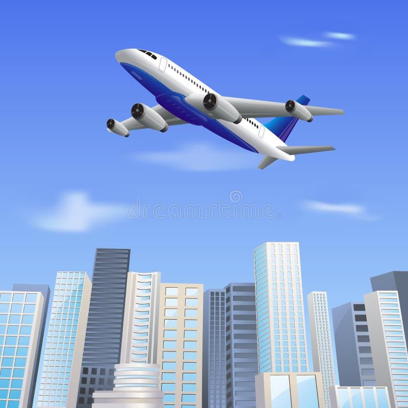 Vol d'avion au-dessus de gratte-ciel illustration libre de droits