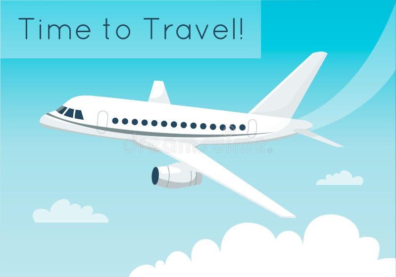Vol d'avion dans le ciel avec des nuages Voyageant ou fournissant le concept Illustration de vecteur illustration libre de droits
