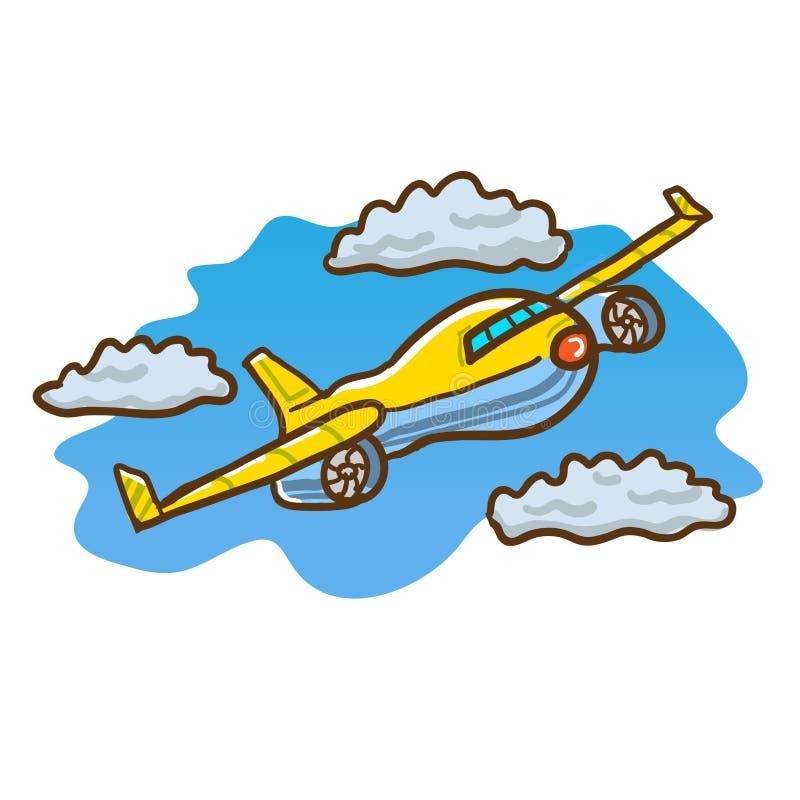 Vol d'avion dans le ciel par des nuages illustration stock