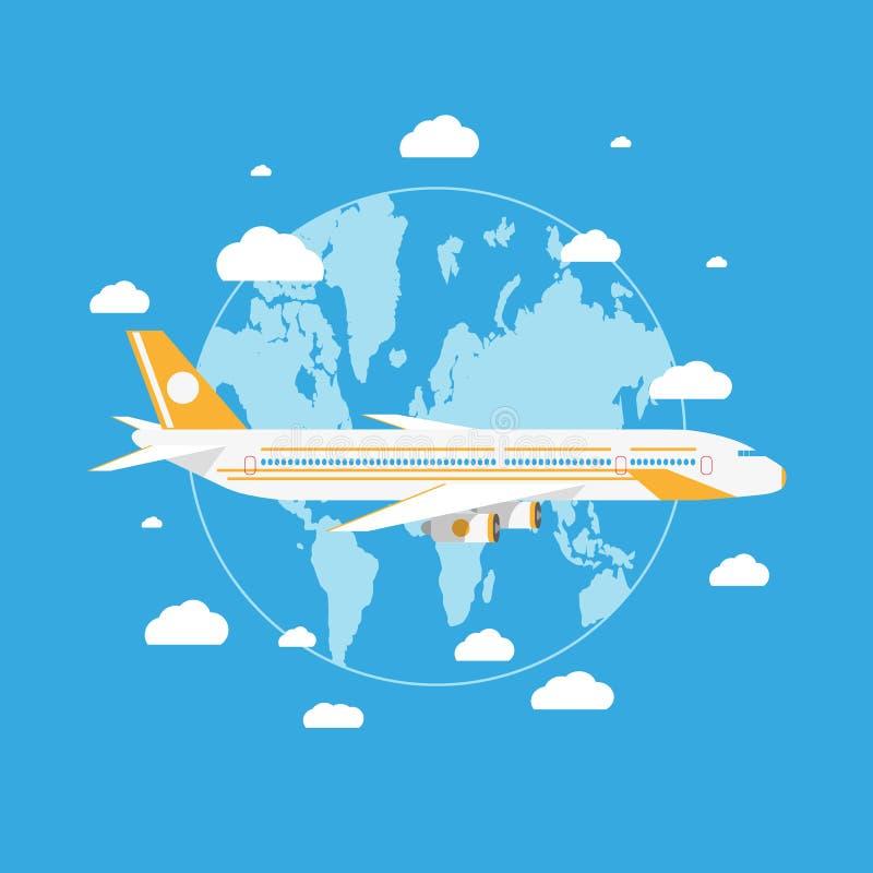 Vol d'avion de Passanger au-dessus de la terre de planète illustration libre de droits