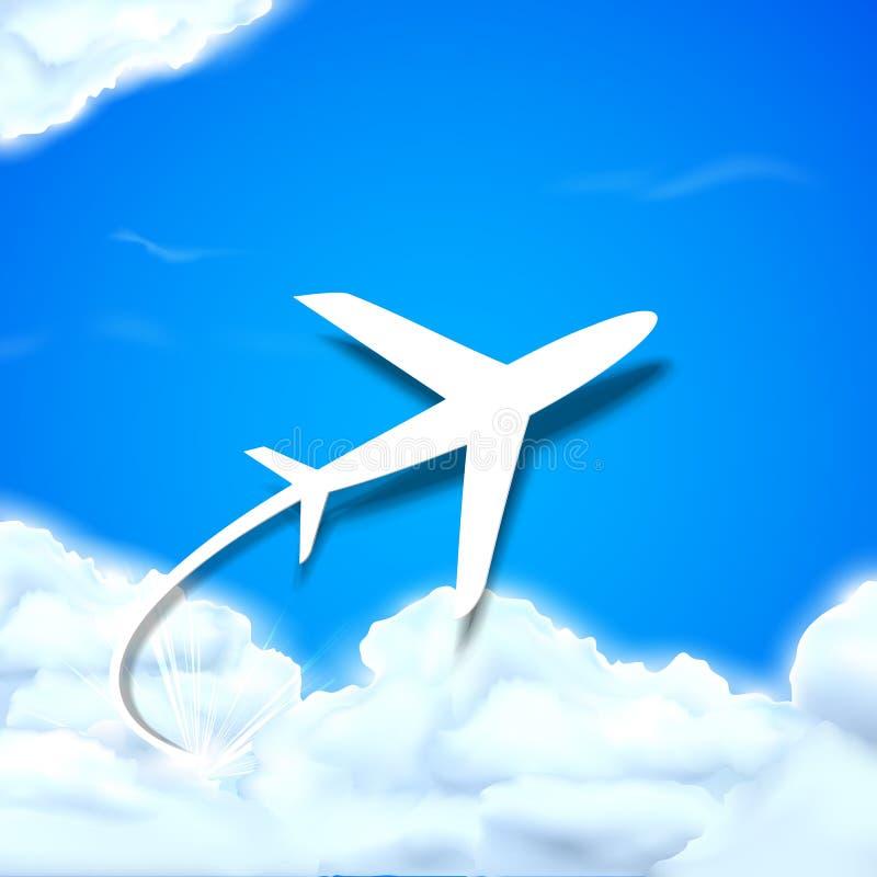 Vol d'avion en nuages illustration libre de droits