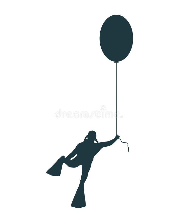 Vol d'homme avec le ballon illustration stock