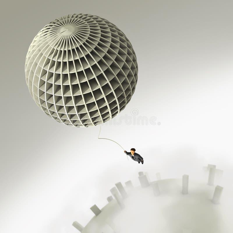 Vol d'homme d'affaires sur le ballon illustration stock