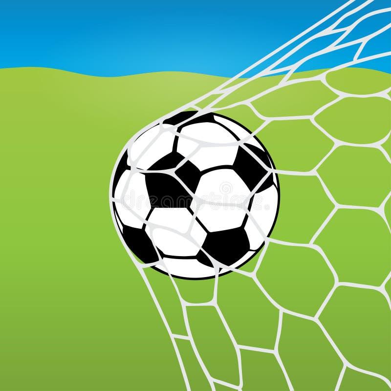 Vol de ballon de football dans le filet, la boule dans le but dans la perspective d'une pelouse du football et le ciel bleu Vecte illustration stock