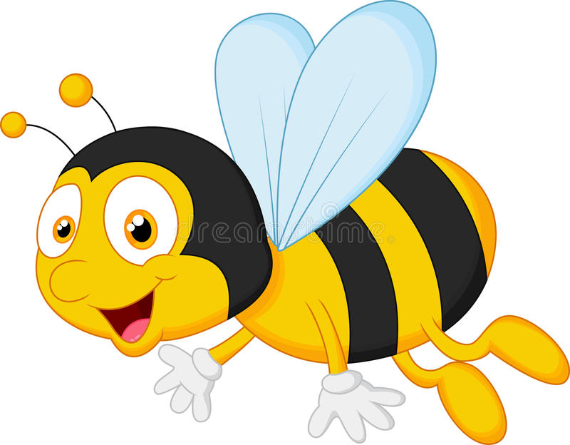 Vol de bande dessinée d'abeille illustration de vecteur