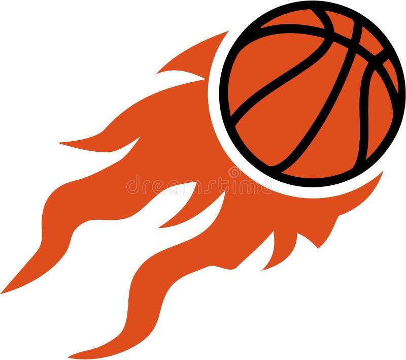 Vol de basket-ball sur le feu illustration stock