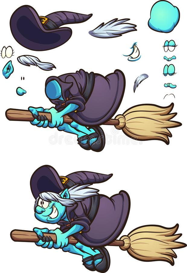 Vol de caractère de sorcière de Halloween de bande dessinée sur son balai avec différentes expressions de visage illustration stock