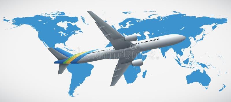 Vol de carte et d'avion du monde illustration libre de droits