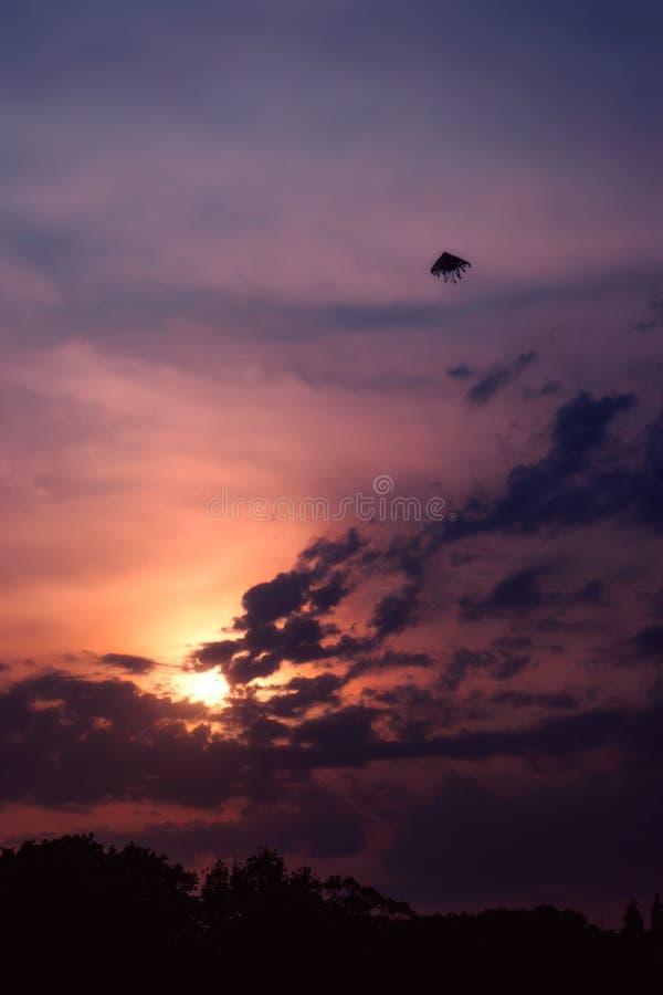 Vol de cerf-volant dans le ciel photo stock