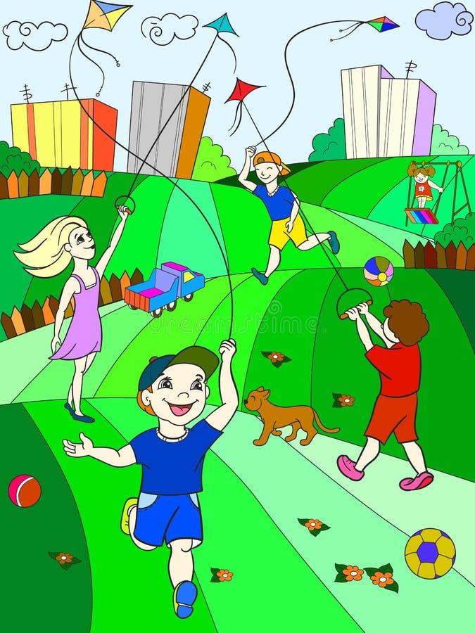 Vol de cerf-volant de jeu de couleur d'enfants illustration libre de droits