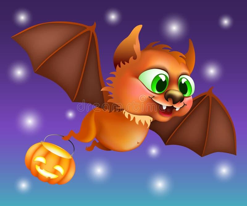 Vol de chauve-souris de Halloween avec le potiron illustration libre de droits