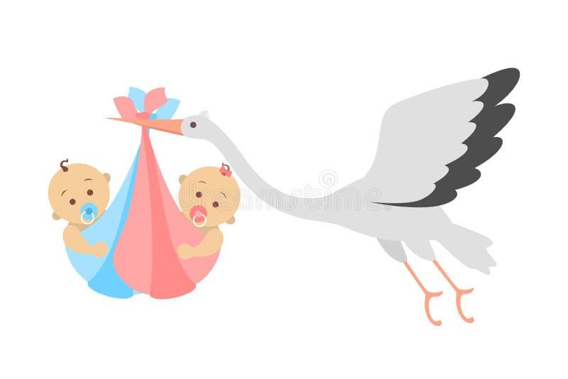 Vol de cigogne blanche avec les jumeaux nouveau-nés d'un bébé illustration de vecteur