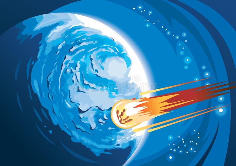 vol de comète au-dessus de planète illustration libre de droits