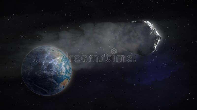 Vol de comète par la terre illustration stock