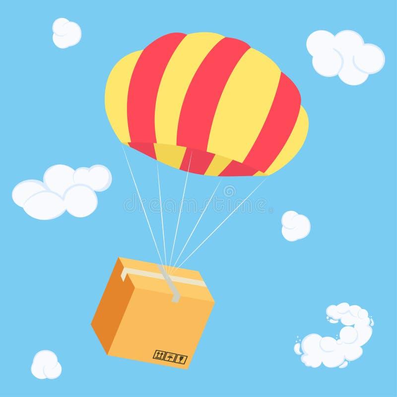 Vol de empaquetage de boîte sur le parachute, colis de la livraison en air illustration de vecteur