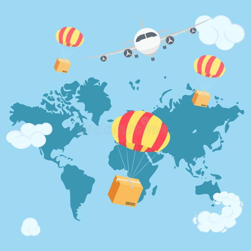 Vol de empaquetage de boîte sur le parachute de l'avion en ciel bleu avec des nuages illustration libre de droits