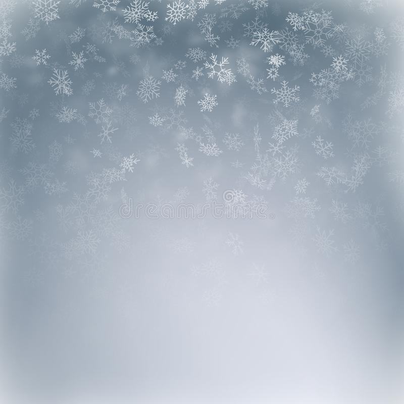 Vol de flocon de neige, carte ou bannière avec des éléments de neige, dispersion de confettis de flocons Symboles d'hiver de temp illustration libre de droits