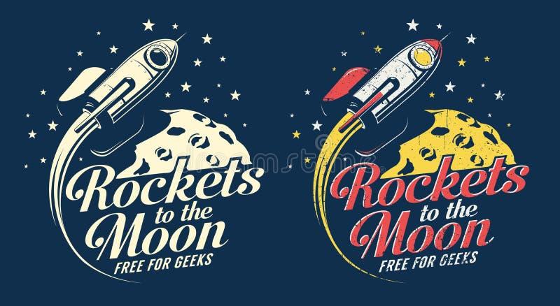 Vol de fusée d'espace autour de la planète avec des cratères illustration stock