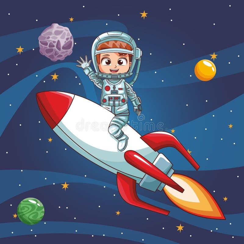 Vol de garçon d'astronaute sur le vaisseau spatial illustration libre de droits