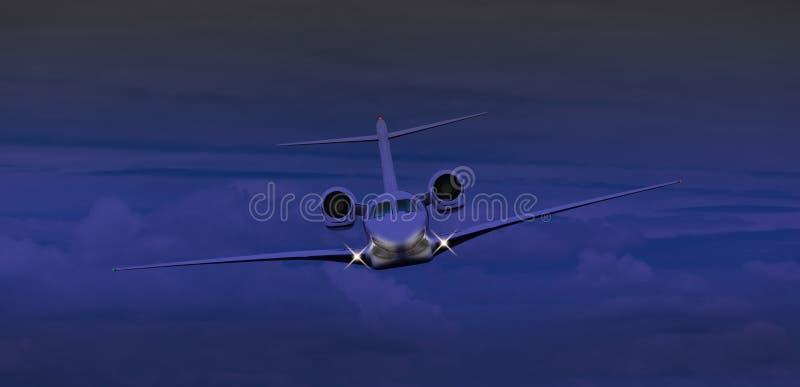 Vol de jet privé la nuit image stock