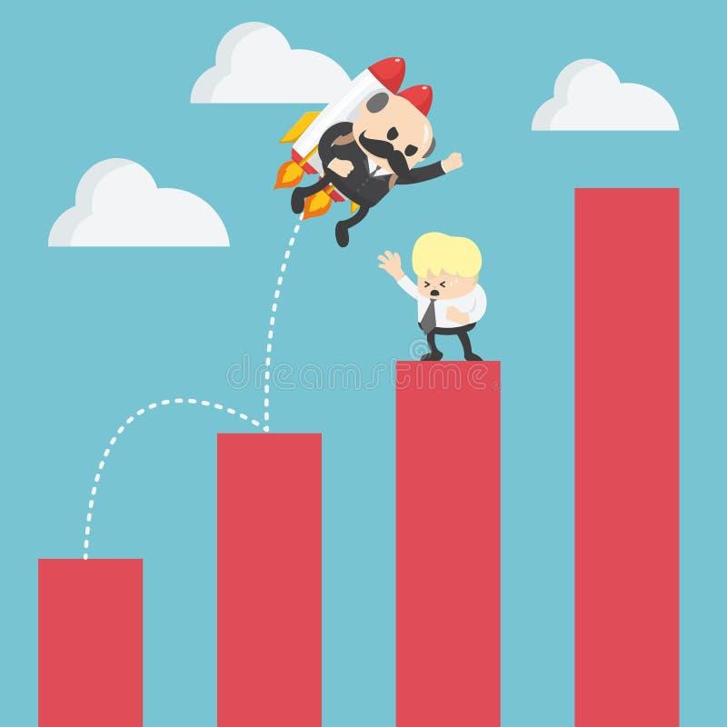 Vol de Jump d'homme d'affaires d'échelle de croissance au succès illustration libre de droits