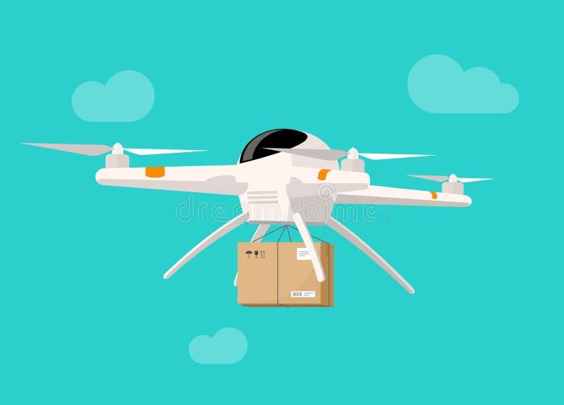 Vol de la livraison de bourdon dans l'illustration de vecteur de boîte de colis d'expédition de ciel illustration stock