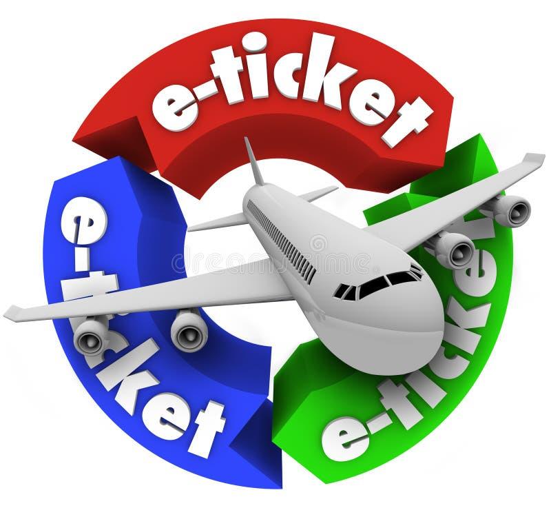 Vol de livre de course d'avion d'E-Billet pour des vacances illustration libre de droits