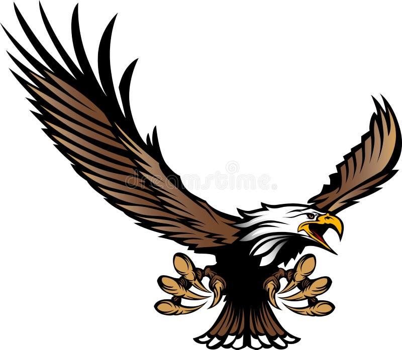 Vol de mascotte d'aigle avec des serres et des ailes illustration libre de droits