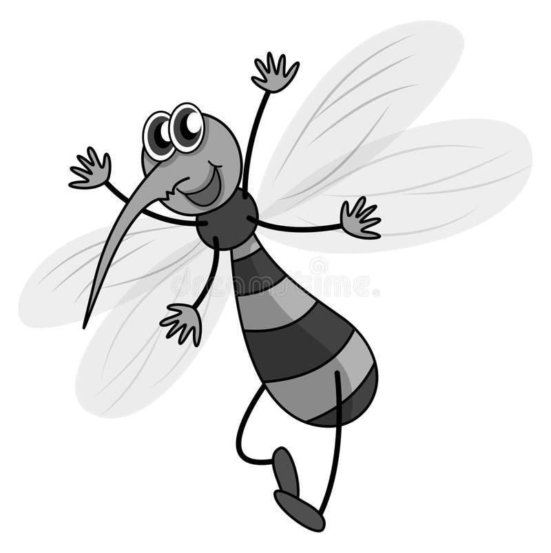 Vol de moustique en noir et blanc illustration de vecteur