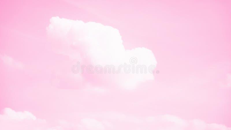 Vol de nuage formé par oiseau blanc dans le ciel rose Foi, concept de symbole format panoramique de 16:9 image stock