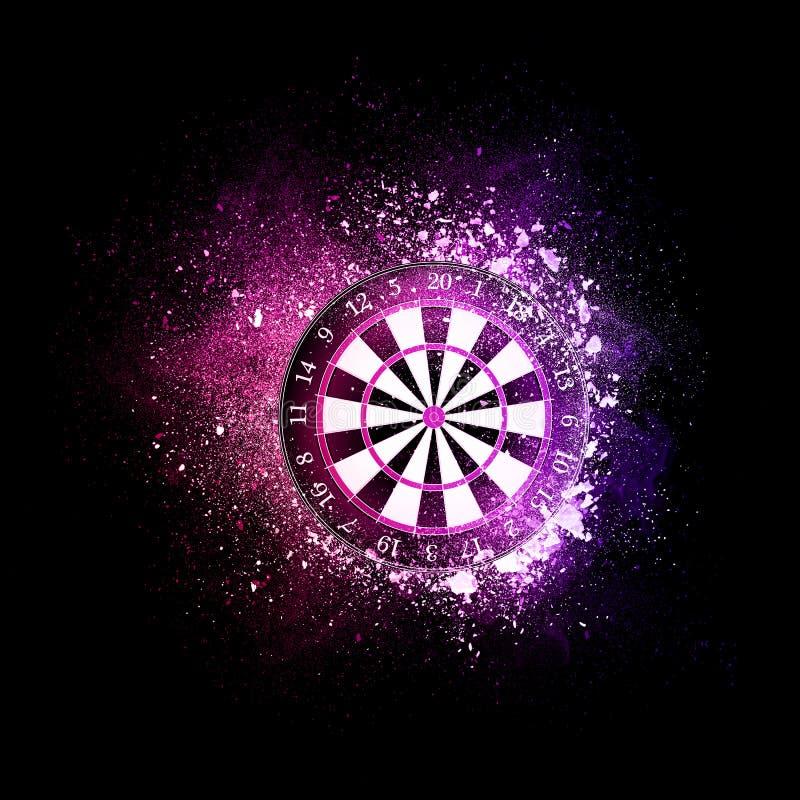 Vol de panneau de dards dans les particules violettes illustration stock