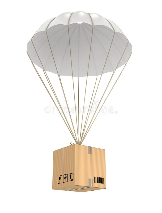 Vol de paquet de parachute photographie stock
