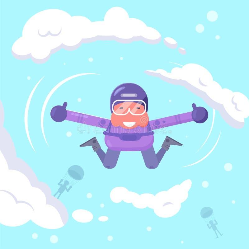 Vol de parachutiste dans le vecteur de ciel cartoon L'AR d'isolement illustration libre de droits