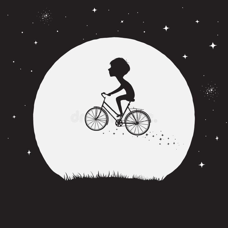 Vol de petit garçon sur la bicyclette illustration libre de droits