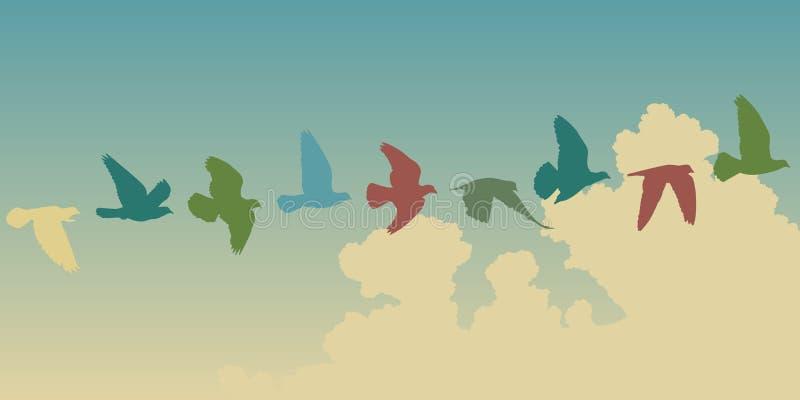 Vol de pigeon illustration libre de droits