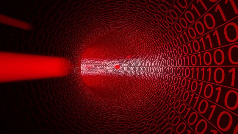 Vol de POV par le tunnel rouge abstrait fait avec des zéros et ceux Fond de pointe Theat de pirate informatique, attaque d'ordina image stock