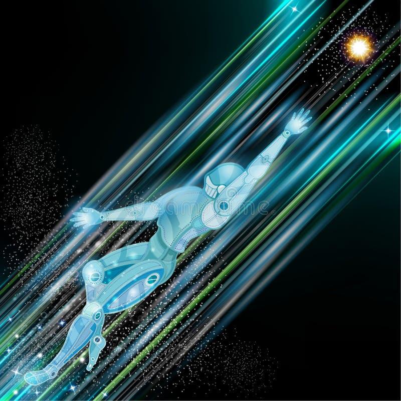 Vol de robot de cyborg avec des traînées de lumière et tache floue de mouvement sur le fond de l'espace illustration stock